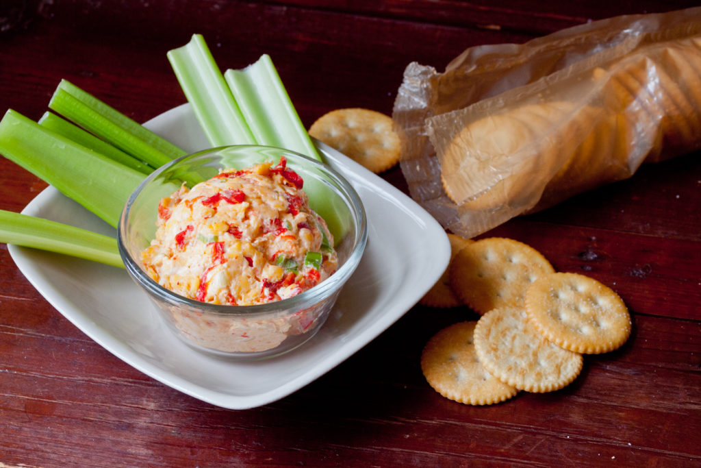 In the South, pimento cheese is traditionally served with Ritz crackers or celery — sometimes both. Credit: Copyright 2015 Susan Lutz
